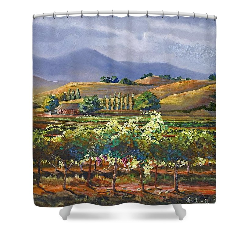Vineyard Shower Curtain featuring the painting Vineyard In California by Heather Coen