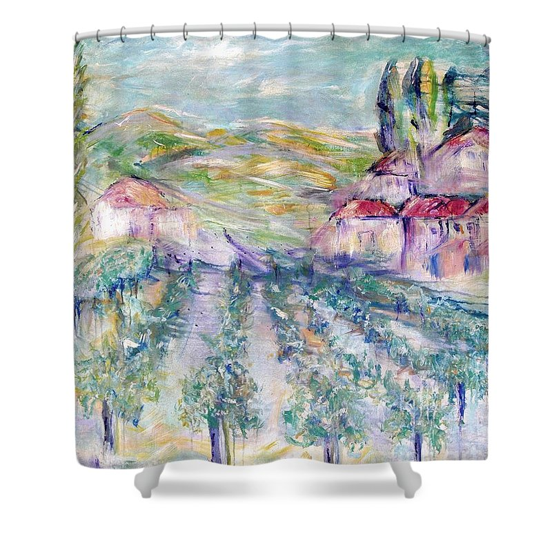 Vineyard Shower Curtain featuring the painting Vineyard by Jeanie Watson