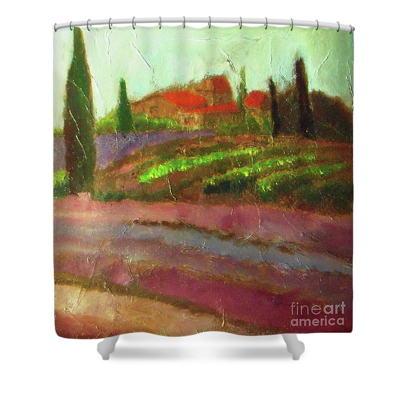 Landscape Shower Curtain featuring the painting Tuscany Vineyard by Vesna Antic