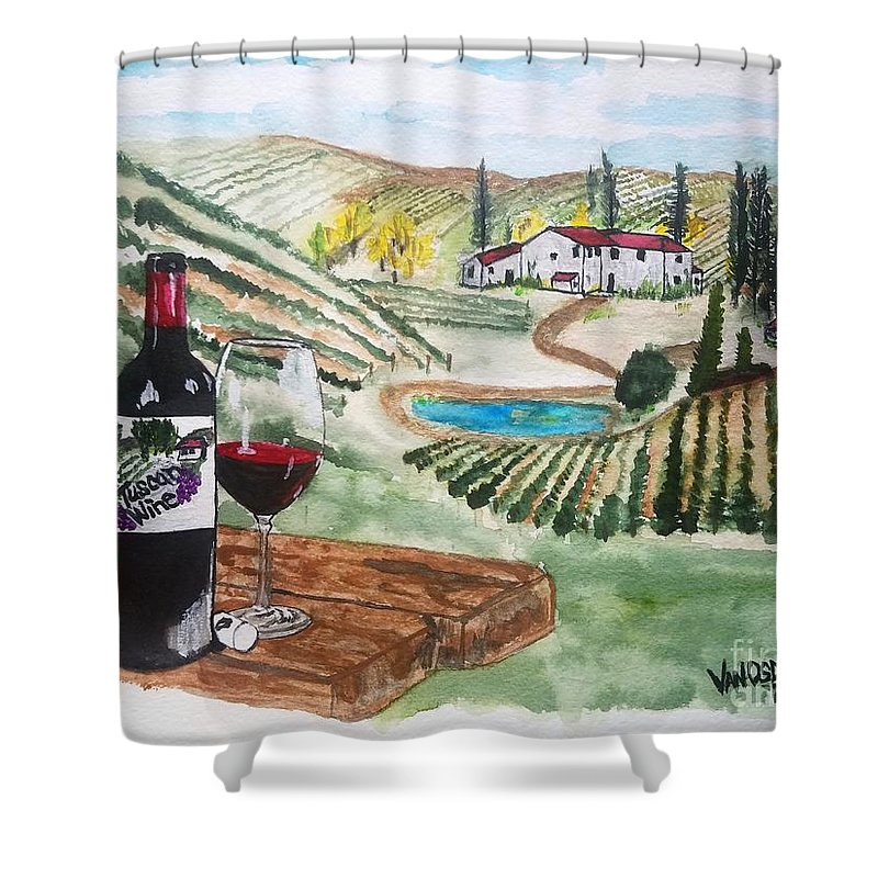 Tuscany Shower Curtain featuring the painting Vineyards Of Tuscany by Scott D Van Osdol