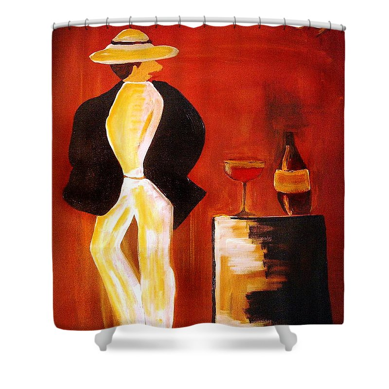 Italian Shower Curtain featuring the mixed media Vinorosso by Helmut Rottler