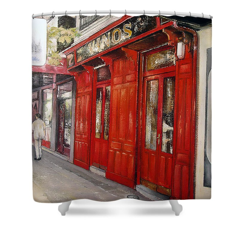 Urban Shower Curtain featuring the painting Vinos Sagasta by Tomas Castano
