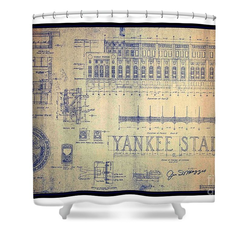 Vintage 1920s art deco yankee stadium blueprint autographed by joe peter g ogden shower curtain featuring the drawing vintage 1920s art deco yankee stadium blueprint autographed malvernweather Gallery