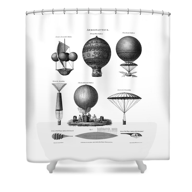 Balloonist Shower Curtain featuring the mixed media Vintage Aeronautics - Early Balloon Designs by War Is Hell Store