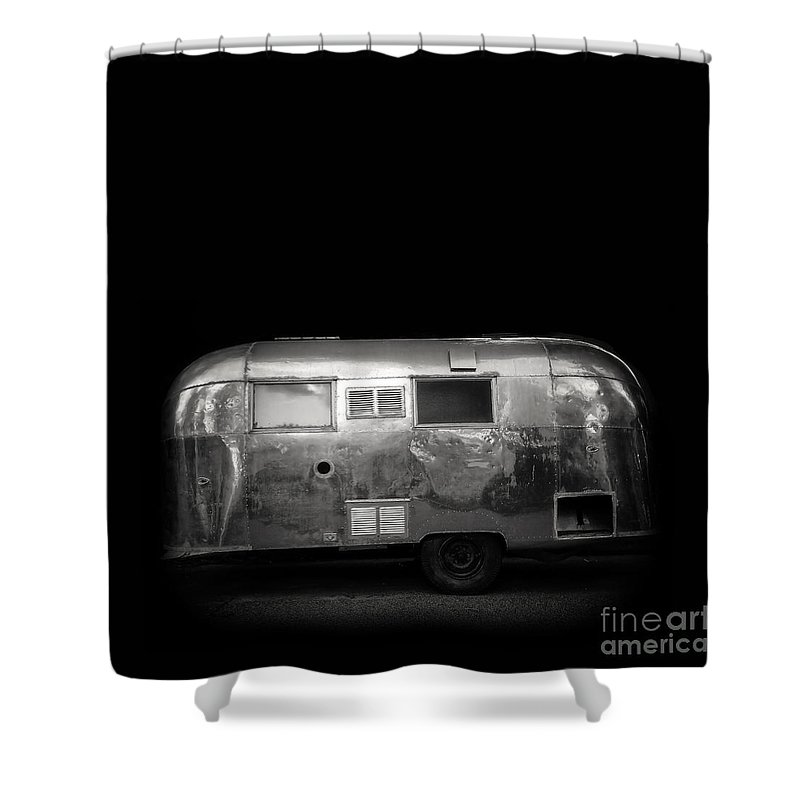 Black Shower Curtain Featuring The Photograph Vintage Airstream Travel Camper Trailer Square By Edward Fielding