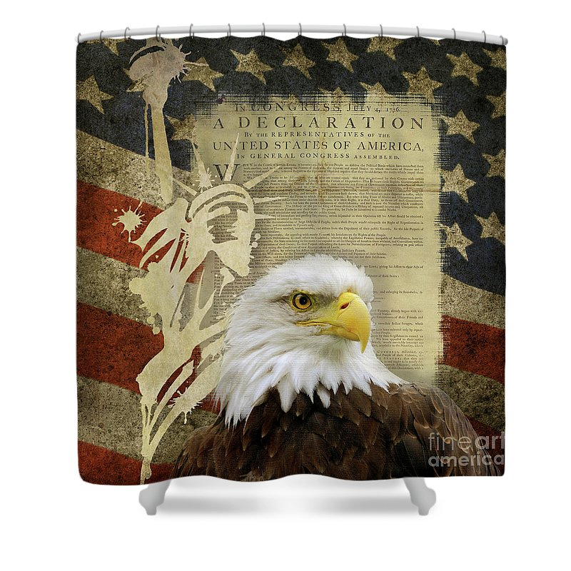 Vintage Americana Patriotic Flag Statue Of Liberty And Bald Eagle ...