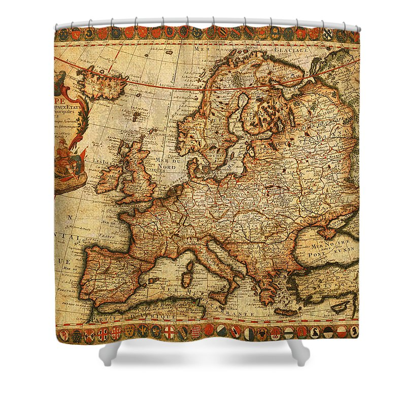 Vintage Antique Map Of Europe French Origin Circa 1700 On Worn ...