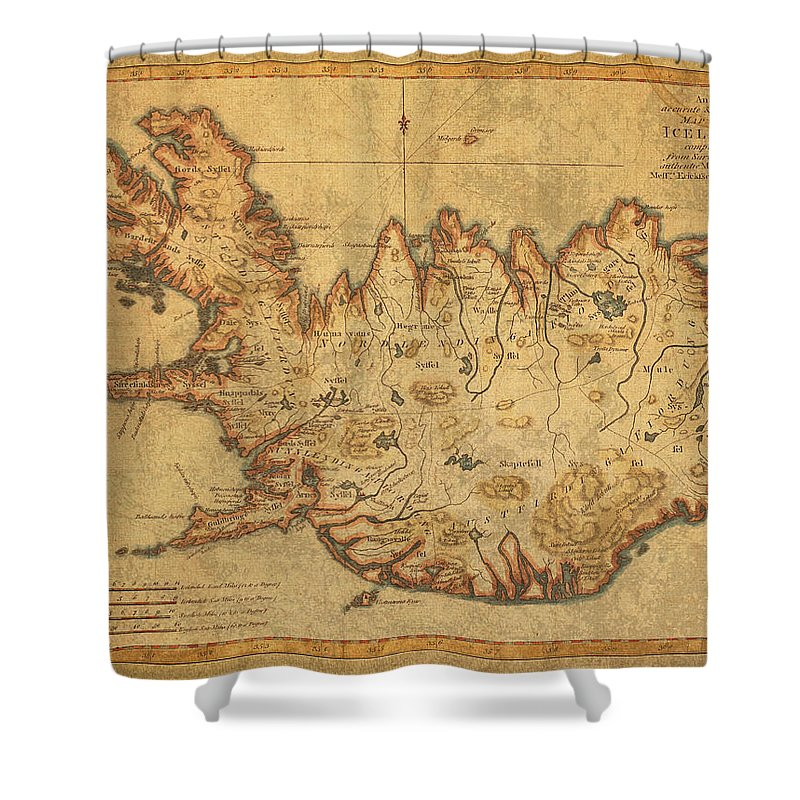 Vintage Antique Map Of Iceland Shower Curtain for Sale by Design ...