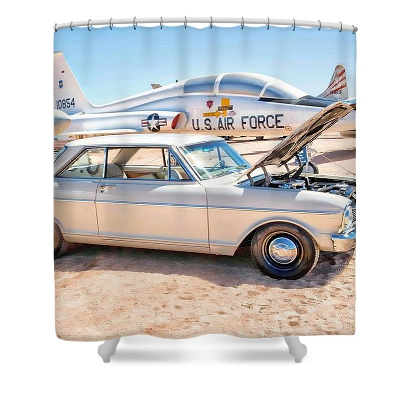 Arizona Shower Curtain featuring the photograph Vintage Auto At Pima Air And Space by Michael Moriarty