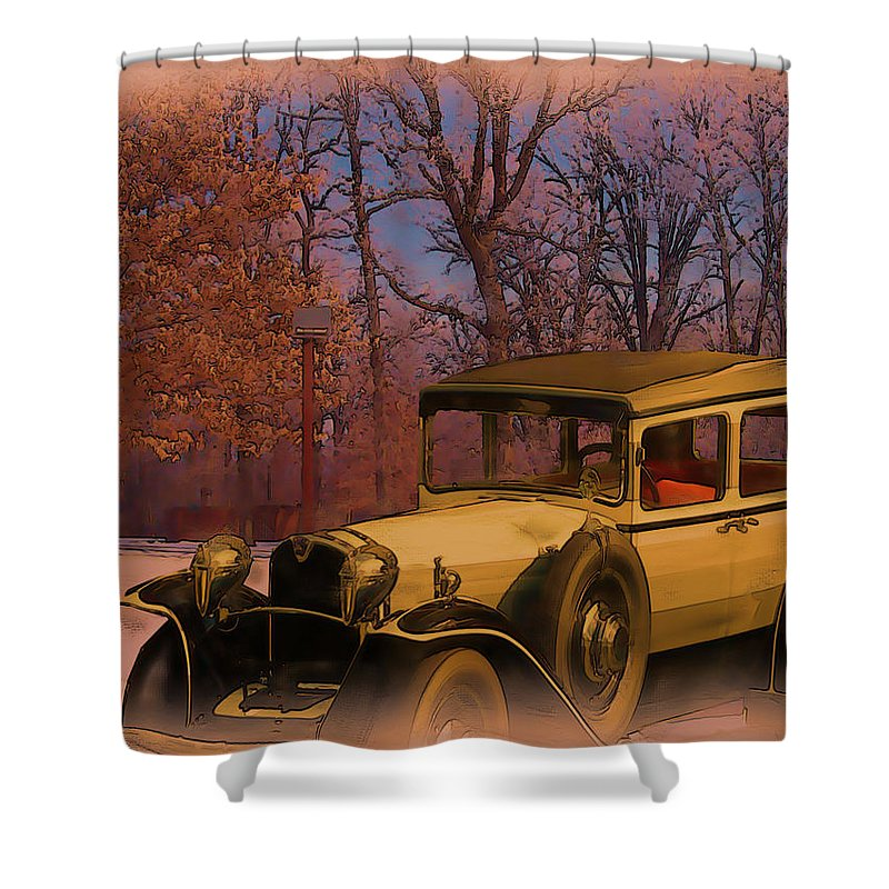 Vintage Shower Curtain featuring the digital art Vintage Auto In Winter by Tristan Armstrong