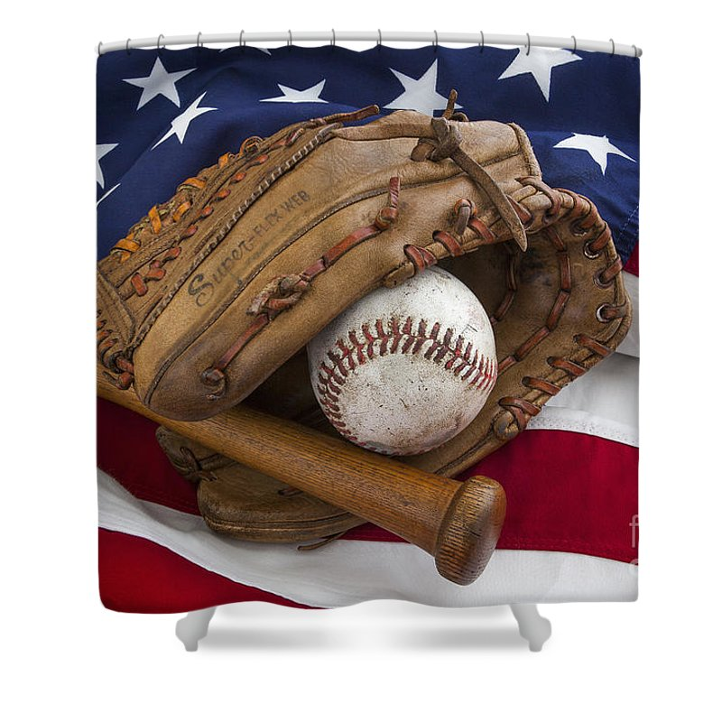 America Shower Curtain Featuring The Photograph Vintage Baseball By MGL Meiklejohn Graphics Licensing
