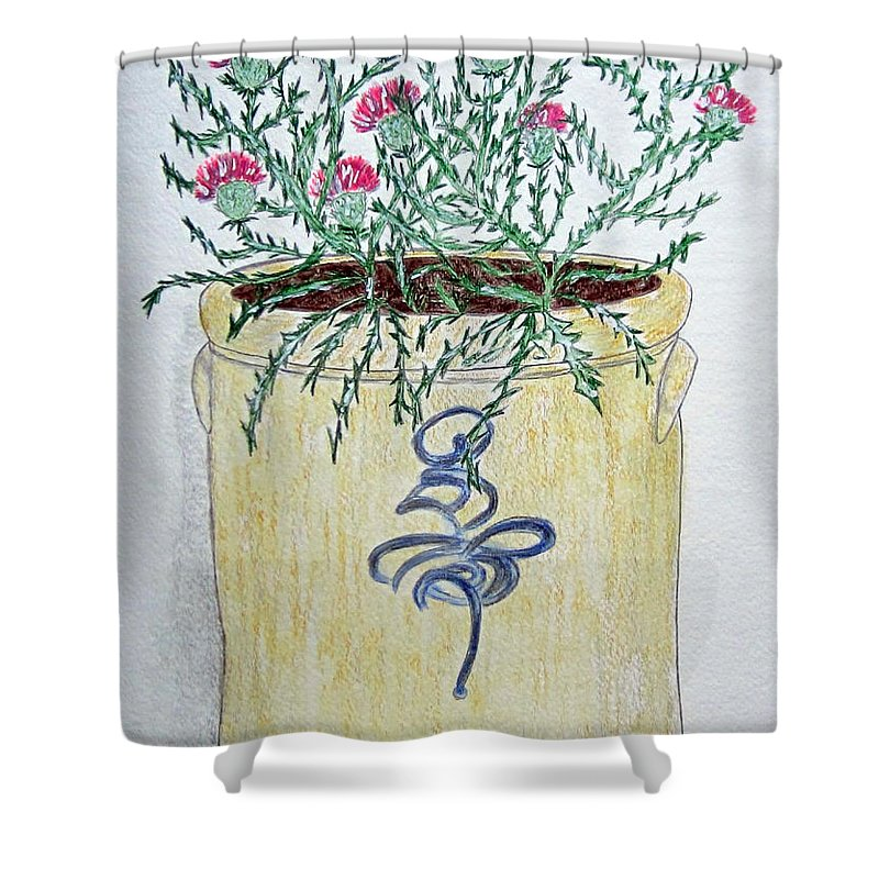 Vintage Shower Curtain featuring the painting Vintage Bee Sting Crock And Thistles by Kathy Marrs Chandler