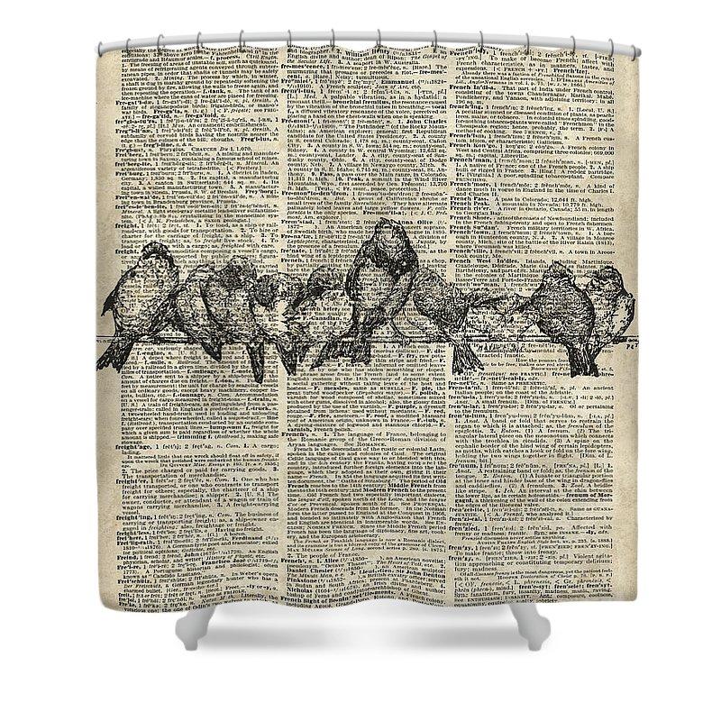 Vintage Birds Shower Curtain featuring the digital art Vintage Birds Dictionary Art by Anna W