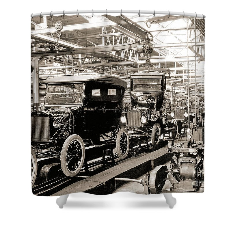 Car Shower Curtain Featuring The Photograph Vintage Assembly Line By American School
