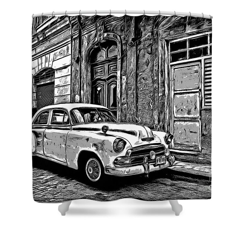 Vintage Shower Curtain Featuring The Digital Art Car Graphic Novel Style By Edward Fielding
