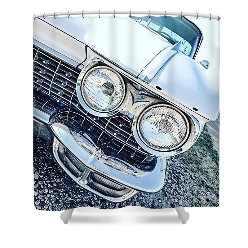 Instahappy Shower Curtain featuring the photograph #vintage #carcorners Just Make So by Austin Tuxedo Cat