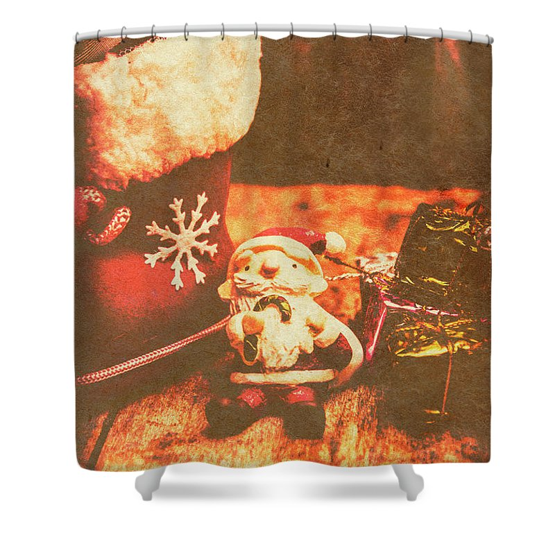 Celebration Shower Curtain featuring the photograph Vintage Christmas Art by Jorgo Photography - Wall Art Gallery