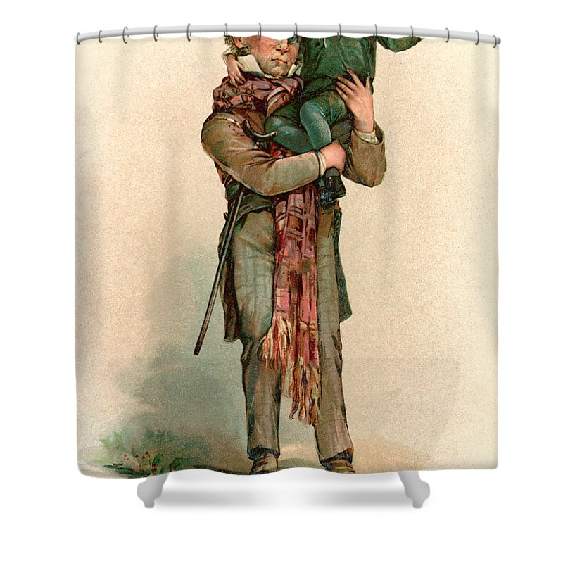 A Christmas Carol Shower Curtain Featuring The Painting Vintage Card Depicting Bob Cratchit Carrying Tiny
