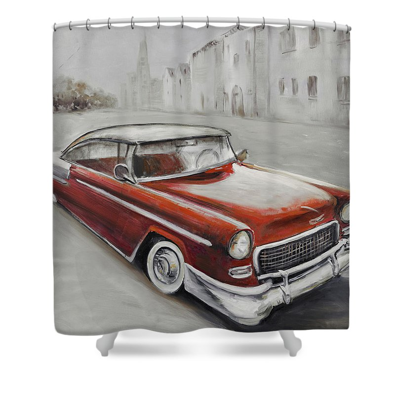 Vintage Shower Curtain Featuring The Painting Classic Car By Atelier B Art Studio