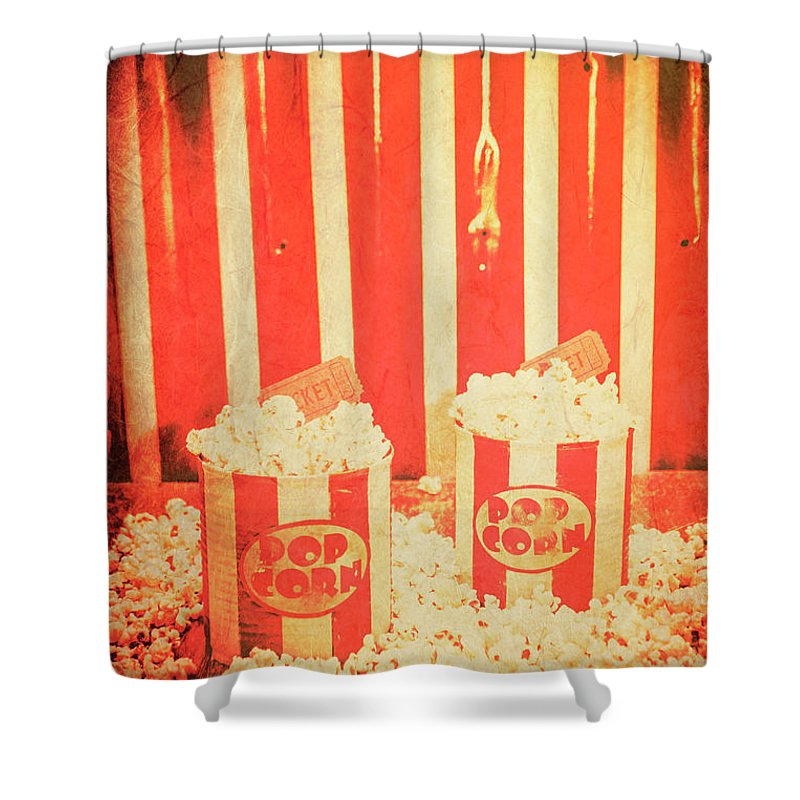 Retro Shower Curtain Featuring The Photograph Vintage Classical Cinema Interval Concept By Jorgo Photography