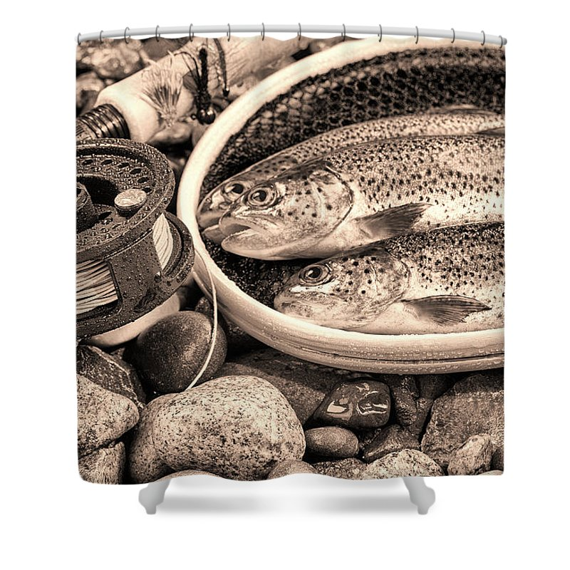 Vintage Shower Curtain featuring the photograph Vintage Concept Of Fly Reel And Pole With Trout In Net by Thomas Baker
