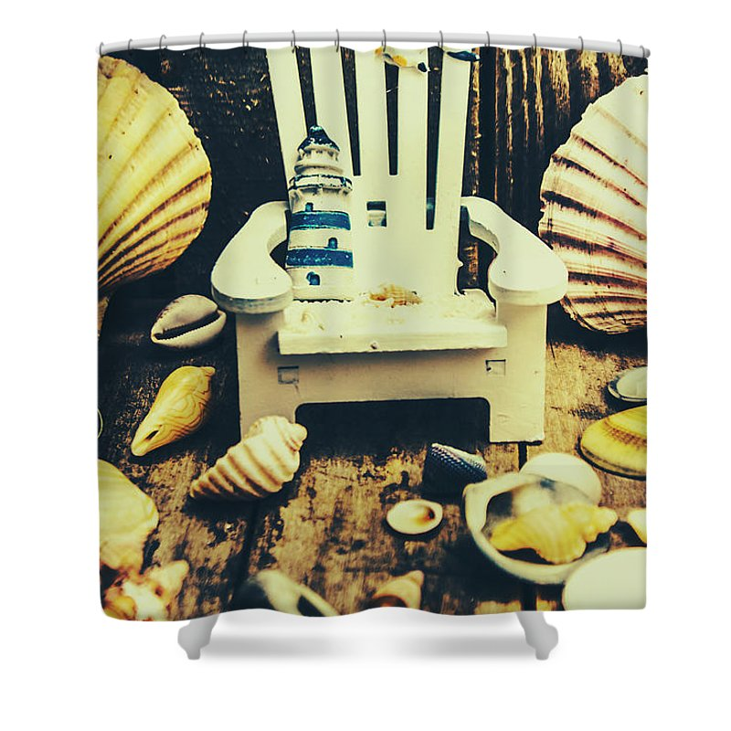Travel Shower Curtain featuring the photograph Vintage Cruise Deck Details by Jorgo Photography - Wall Art Gallery