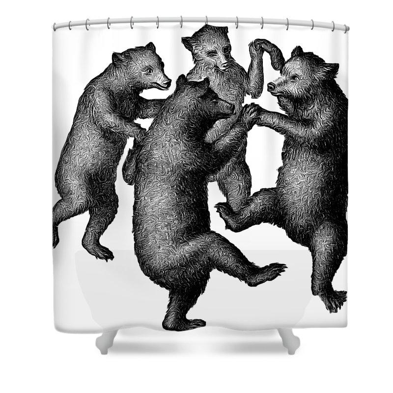 Vintage Dancing Bears Shower Curtain For Sale By Edward Fielding