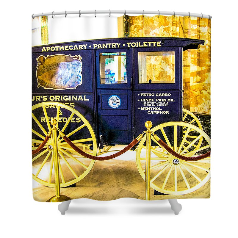 Antique Shower Curtain featuring the photograph Vintage Delivery Wagon by Tom Zukauskas