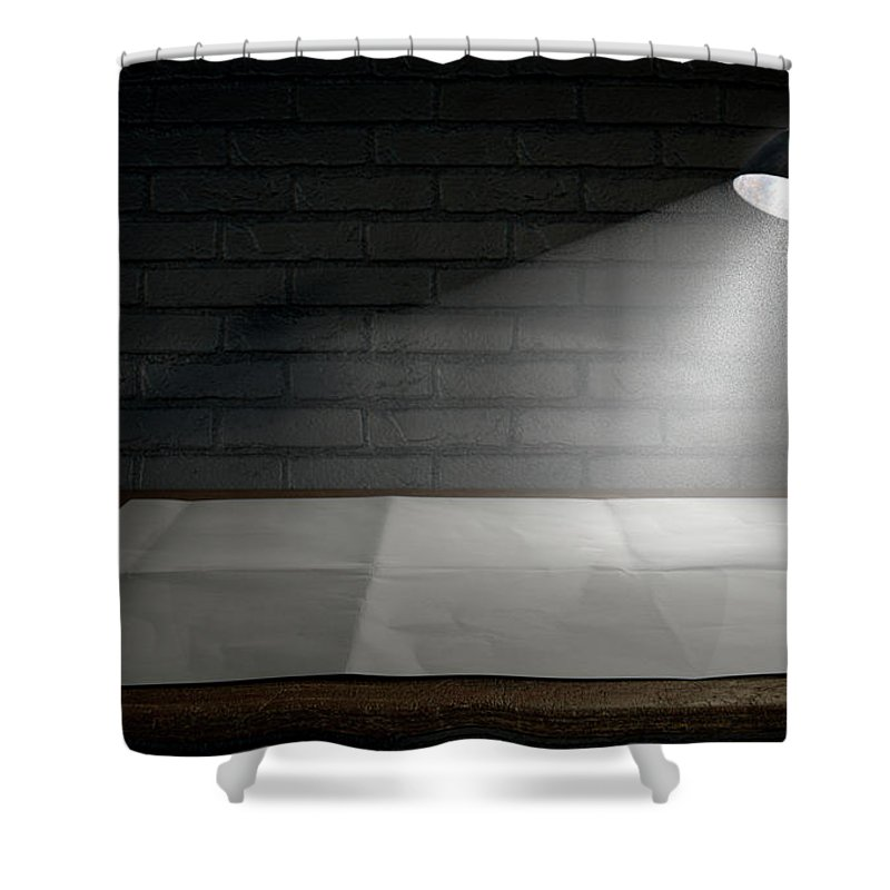 Architect Shower Curtain featuring the digital art Vintage Desk And Lamp by Allan Swart