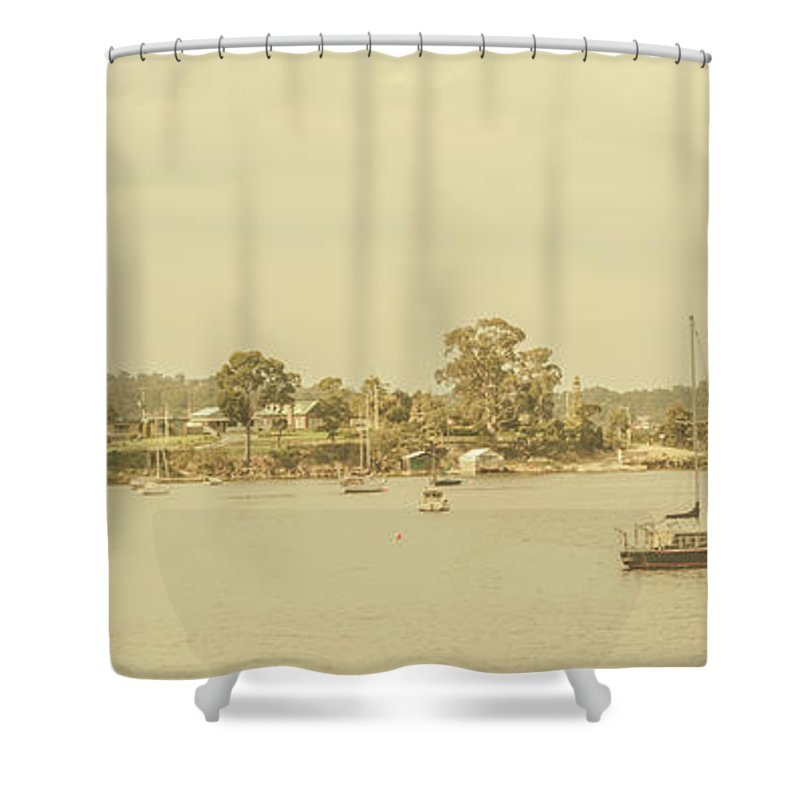Nautical Shower Curtain featuring the photograph Vintage Dover Harbour Tasmania by Jorgo Photography - Wall Art Gallery