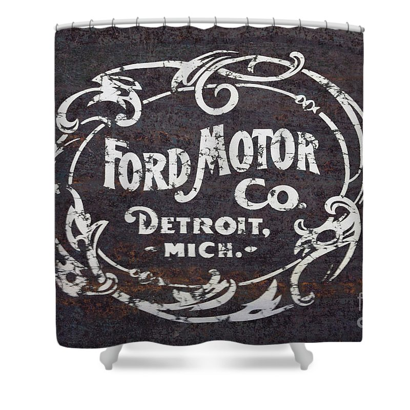 Ford Shower Curtain Featuring The Digital Art Vintage Motor Co Rusty Sign By Edward