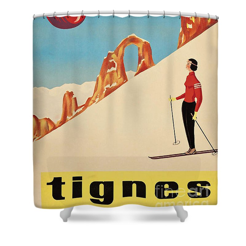 France Shower Curtain Featuring The Painting Vintage French Skiing By Mindy Sommers