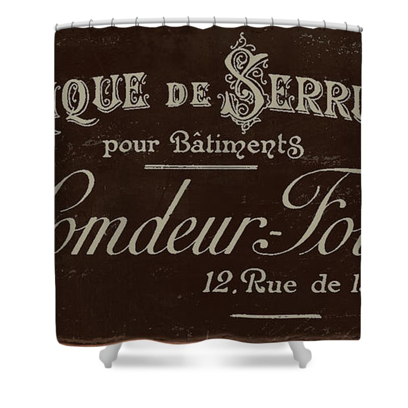 Paris Shower Curtain Featuring The Painting Vintage French Typography Script Sign By Mindy Sommers