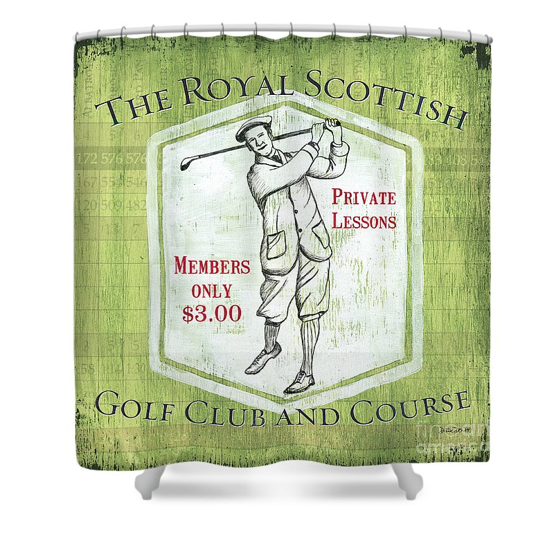 Golf Shower Curtain featuring the painting Vintage Golf Green 1 by Debbie DeWitt