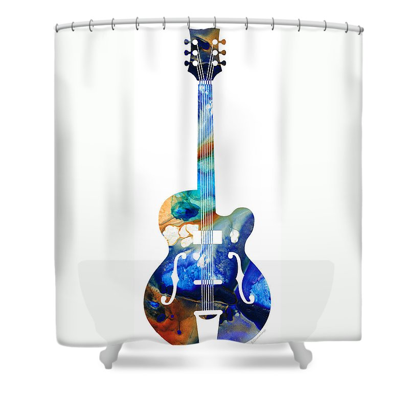 Guitar Shower Curtain featuring the painting Vintage Guitar - Colorful Abstract Musical Instrument by Sharon Cummings