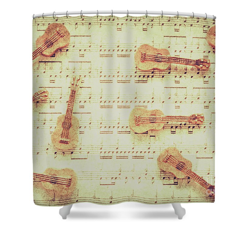 Guitar Shower Curtain featuring the photograph Vintage Guitar Music by Jorgo Photography - Wall Art Gallery