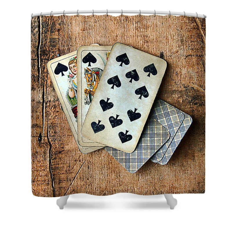 Vintage Shower Curtain featuring the photograph Vintage Hand Of Cards by Jill Battaglia