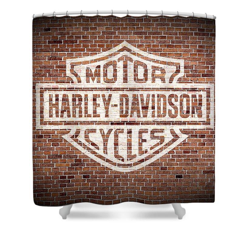 vintage harley davidson logo painted on old brick wall shower curtain for sale by design turnpike. Black Bedroom Furniture Sets. Home Design Ideas