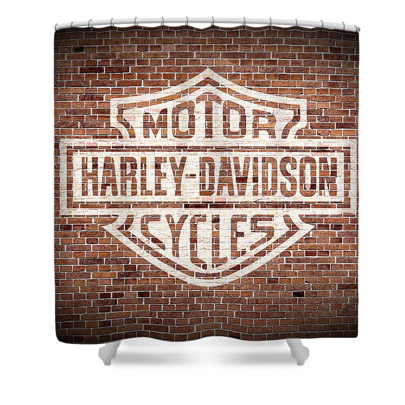 Vintage Harley Davidson Logo Painted On Old Brick Wall Shower Curtain For Sale By Design Turnpike