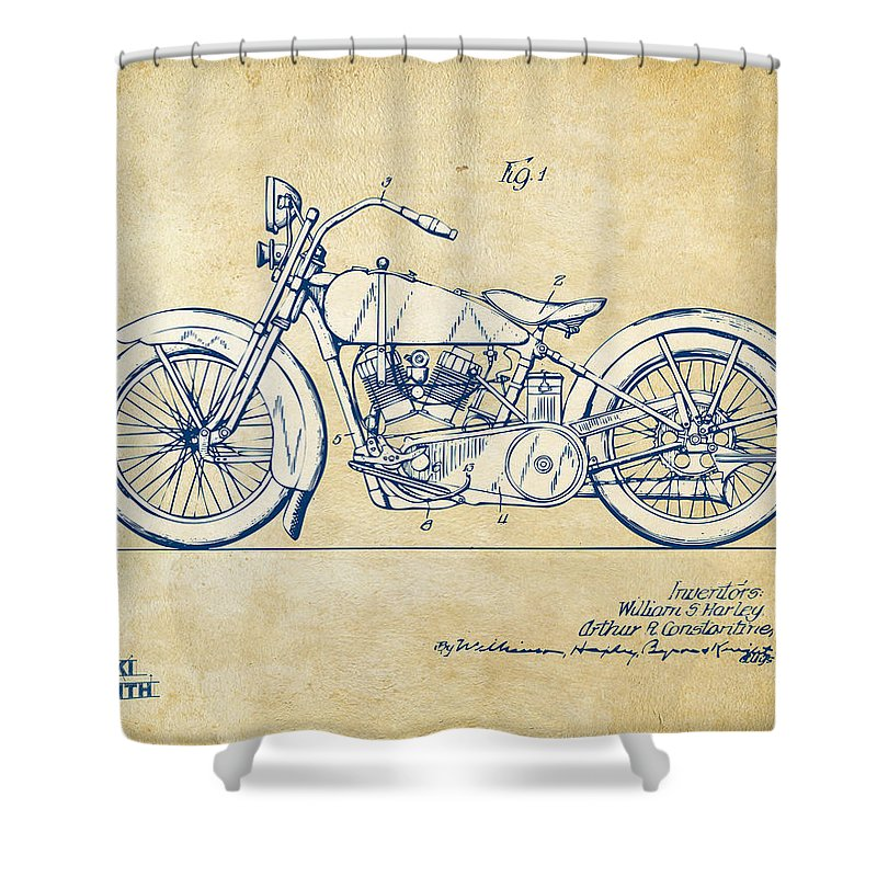 d14199a1 Harley-davidson Shower Curtain featuring the digital art Vintage Harley-davidson  Motorcycle 1928 Patent