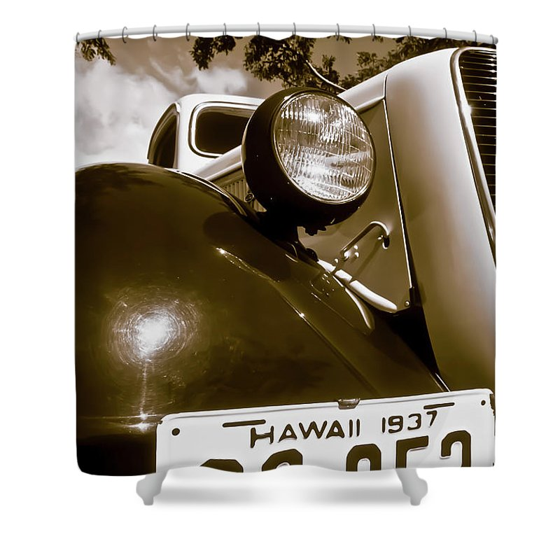 1937 Ford Shower Curtain featuring the photograph 1937 Ford Pickup Truck Maui Hawaii by Jim Cazel