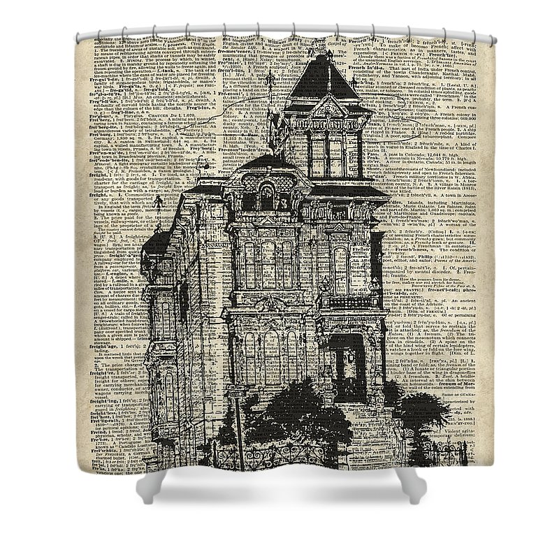 Vintage House Over Dictionary Page Shower Curtain featuring the digital art Vintage House Over Dictionary Page by Anna W