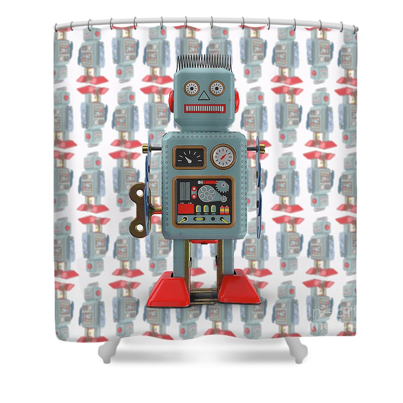 Vintage Japanese Toy Robot Design Shower Curtain For Sale By Edward Fielding
