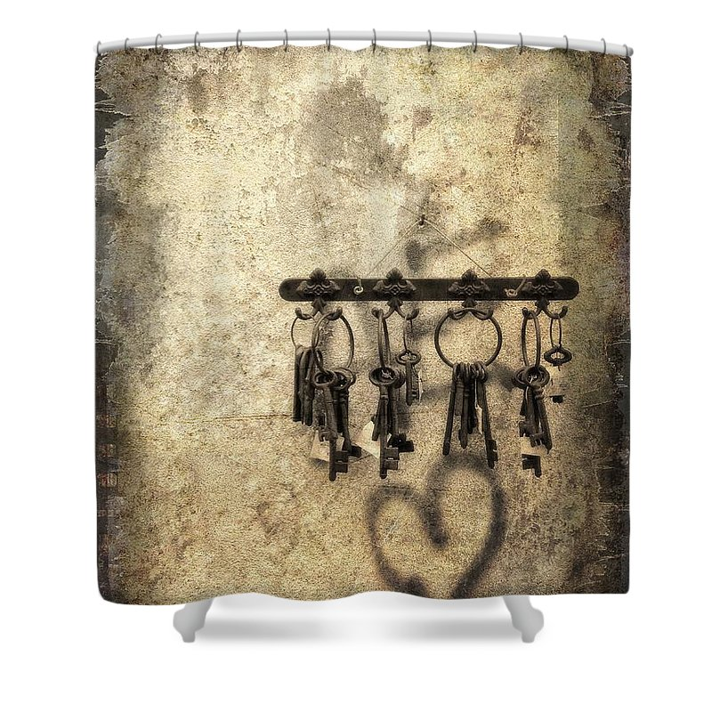 Keys Shower Curtain featuring the photograph Vintage Keys by Diana Rajala