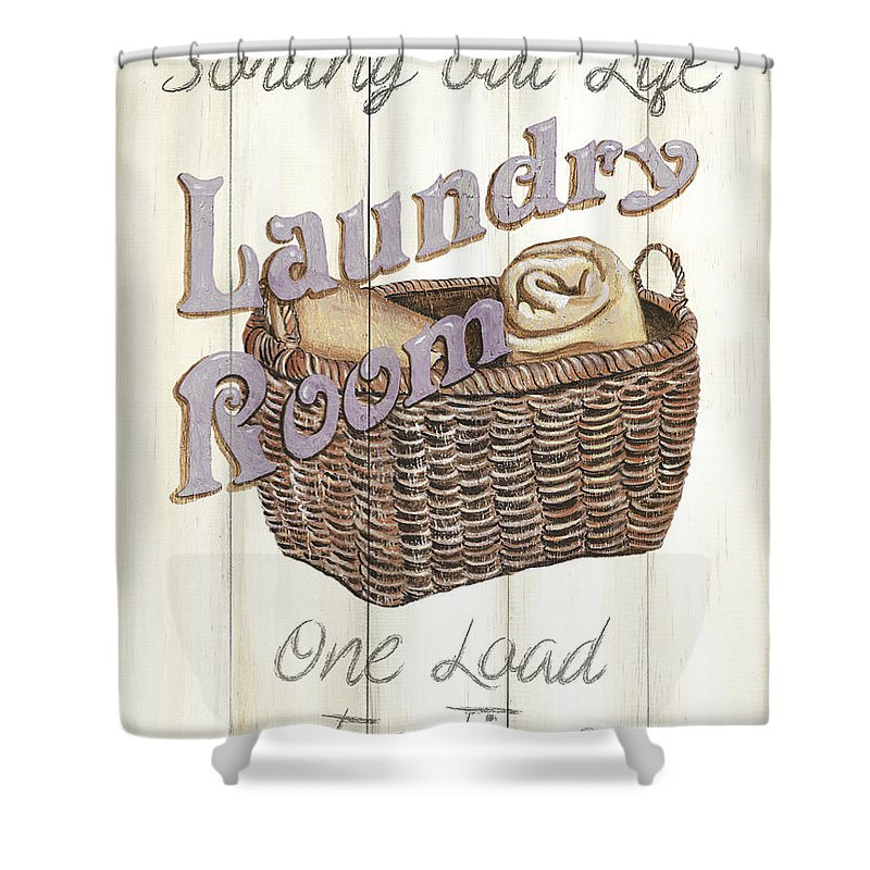 Laundry Shower Curtain featuring the painting Vintage Laundry Room 2 by Debbie DeWitt