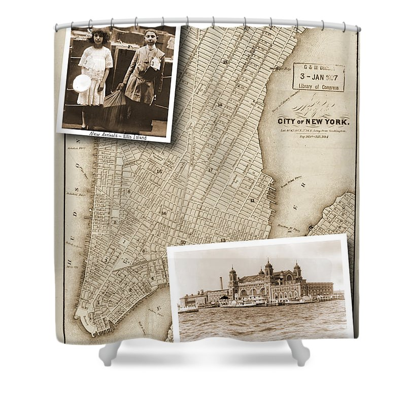 Vintage Map Shower Curtain featuring the photograph Vintage Map Ellis Island Immigrants by Karla Beatty