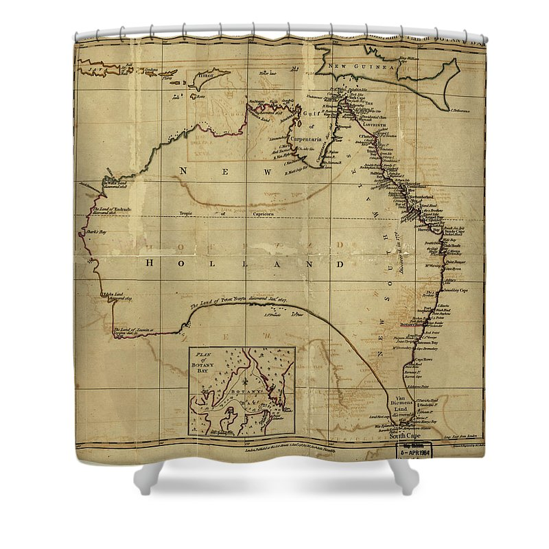 Australia Shower Curtain Featuring The Drawing Vintage Map Of