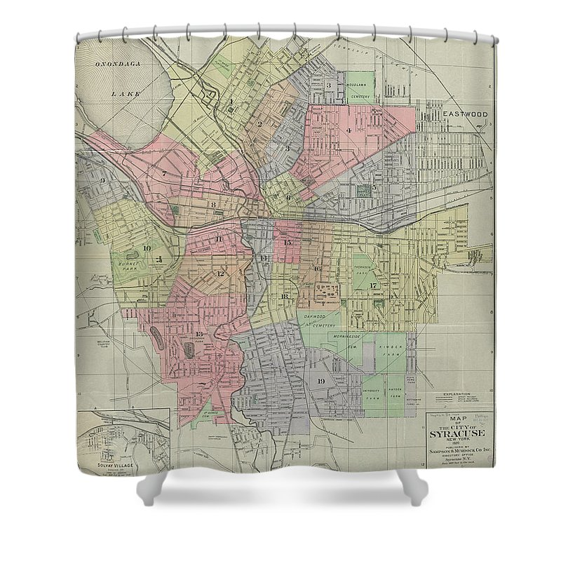 Syracuse Shower Curtain Featuring The Drawing Vintage Map Of New York