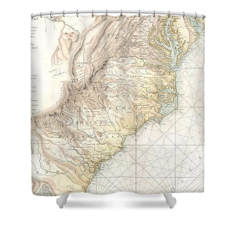 Vintage Map Of The Southern Colonies Shower Curtain For Sale By