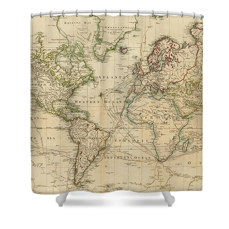 Vintage Map Of The World 1800 Shower Curtain For Sale By
